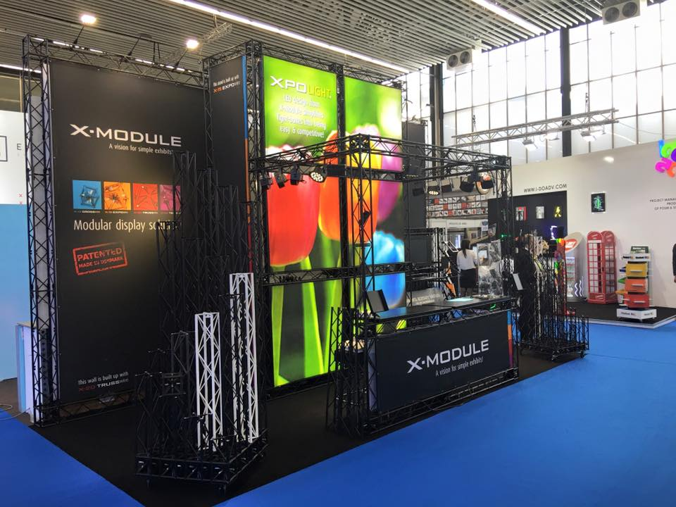 X-Module Exhibition Stand in black at a show