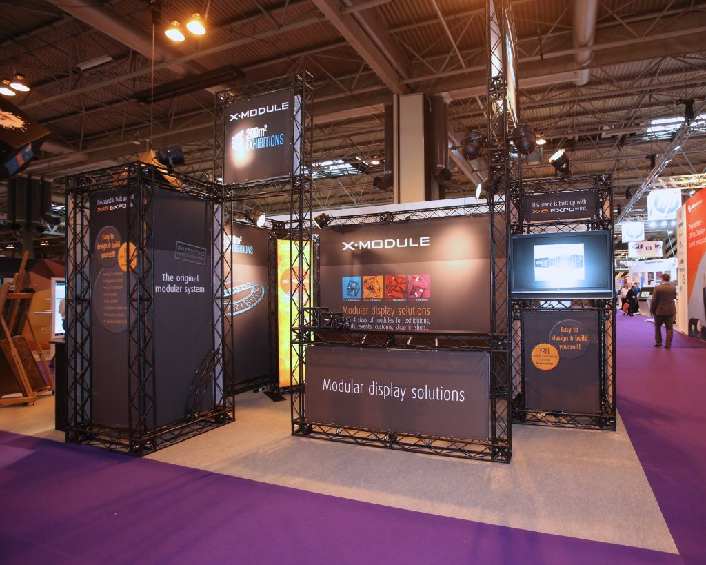 Exhibition truss stand at a show