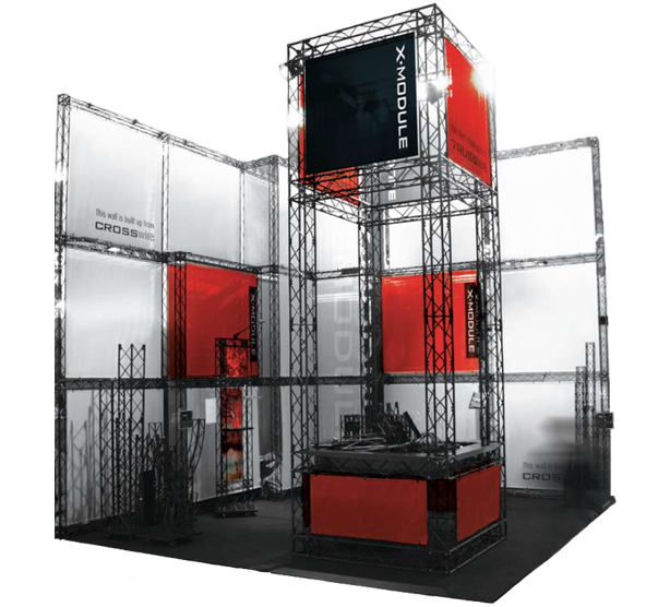 Foldable truss stand in red and black scheme